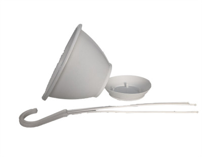 """White 6"""" Plastic Hanging Basket with Removable Saucer"""