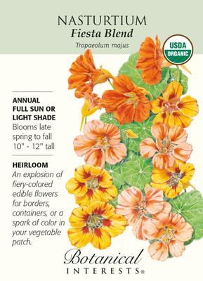 Fiesta Blend Nasturtium Seeds - 2 grams - Certified Organic