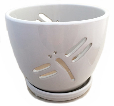 """Dragonfly White Ceramic Orchid Pot and Saucer + Felt Feet-5 1/2"""" x 5 1/4"""" #44234"""