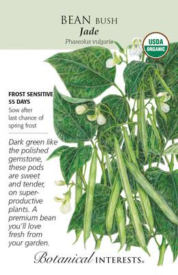 Organic Jade Bush Bean Seeds - Botanical Interests - 20 grams