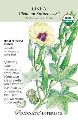 Organic Clemson Spineless 80 Okra Seeds - 4 Grams