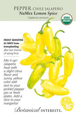 Organic NuMex Lemon Spice Jalapeño Chile Pepper Seeds - 20 Seeds