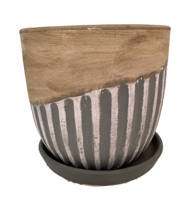 """Alise Ceramic Planter with Attached Saucer - Tan/Grey Matte - 5.5"""" x 5.5"""""""
