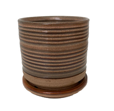 """Ellora Ceramic Planter with Attached Saucer - Taupe - 4.5"""" x 4.25"""""""
