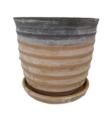 "Sylvan Ceramic Planter with Attached Saucer - Honey - 5.5"" x 5.5"""