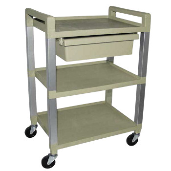 POLY UTILITY CART 3 SHELF, GRY W/DRAWER
