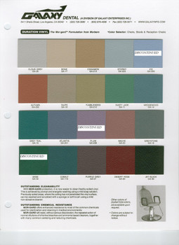 New Galaxy Adjusting Table with Articulating Head Piece color chart