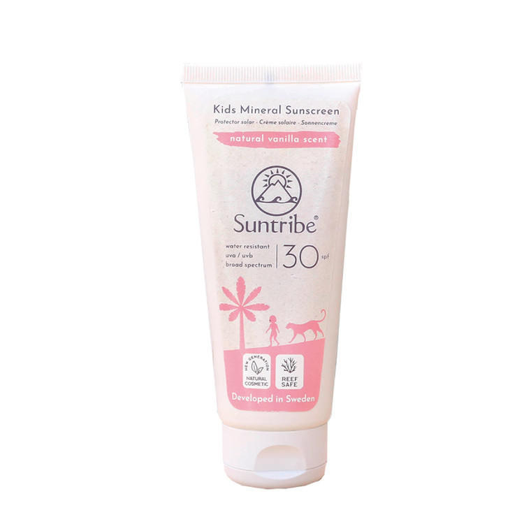 Suntribe Natuurlijke Minerale Kinderzonnebrandcrème met Vanille SPF 30 - (100 ml) | No Nasties