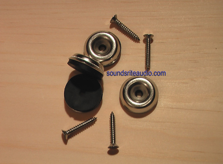 Amp Cabinet Chrome Glide Feet set of 4 with screws.