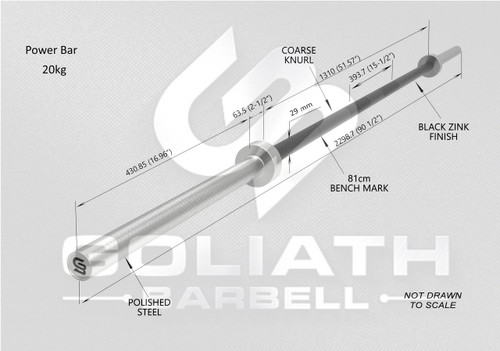 Goliath Power Bar - Black Zinc / Black sleeves - 20kg  - PRESALE end of OCTOBER / early NOVEMBER