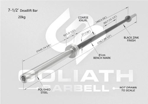 Goliath Deadlift Bar - Black Zinc / CHROME SLEEVES  - 20kg