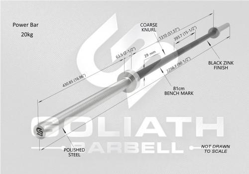 Goliath Power Bar - Stainless Steel / Hardened Chrome Sleeves - 20kg (Goliath Power Bar - Stainless Steel / Hardened Chrome Sleeves - 20kg)