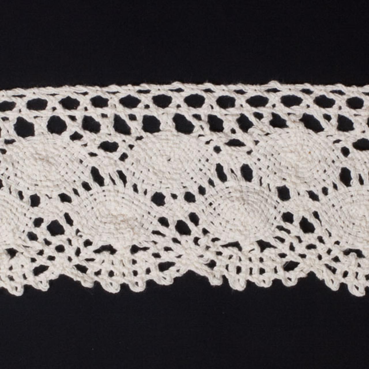 Cali Fabrics Ivory 4 Wide Crochet Lace Trim