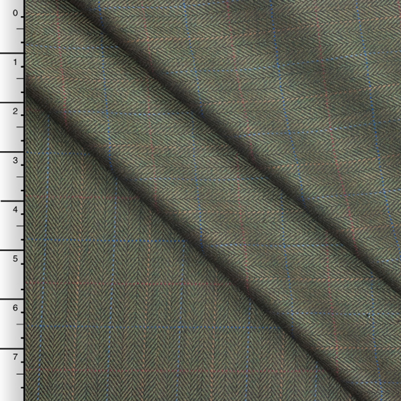 Italian Olive Herringbone Wool Suiting with Subtle Windowpane Check 7891eca8edfc