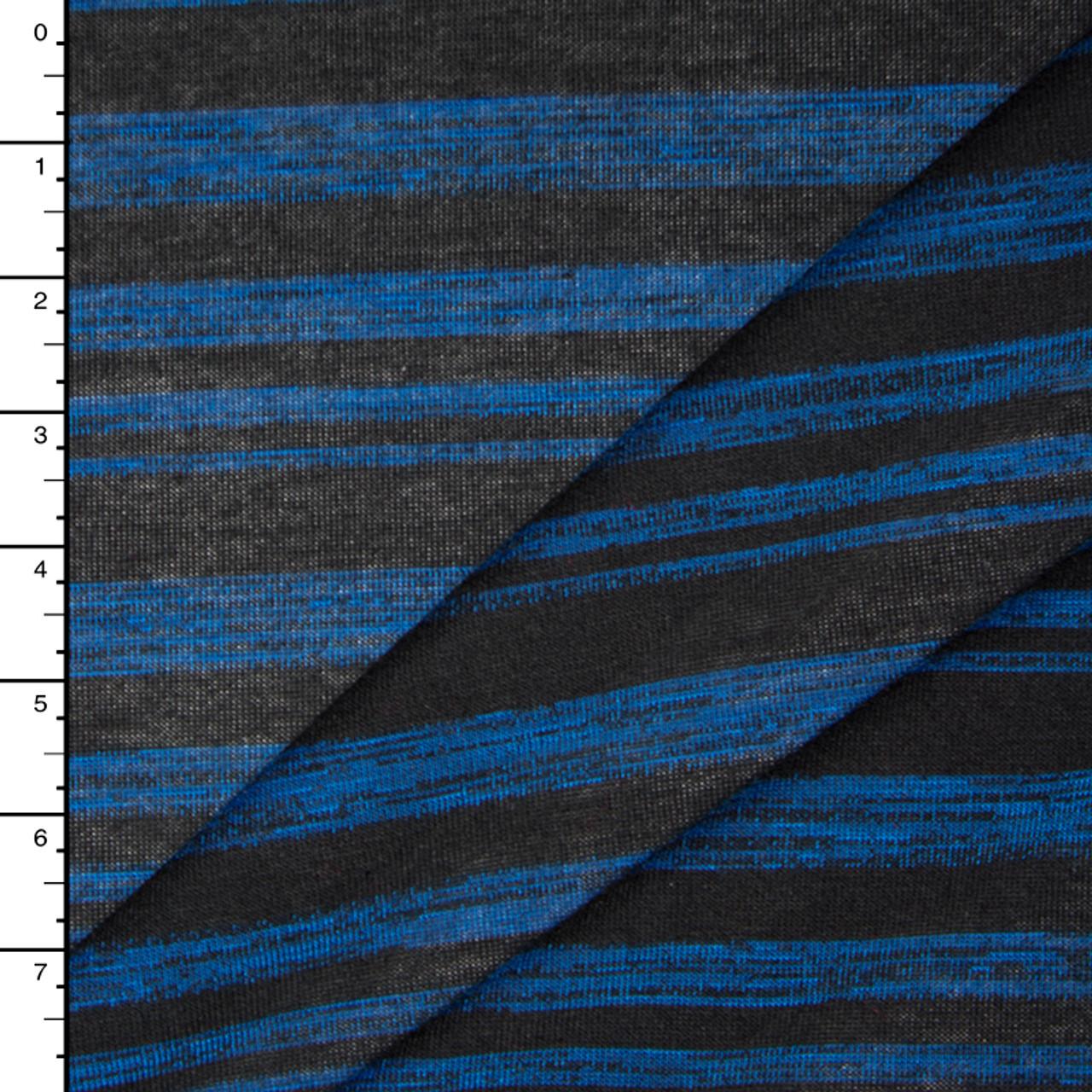 Bright Blue and Black Brush Stripe Hacci Sweater Knit