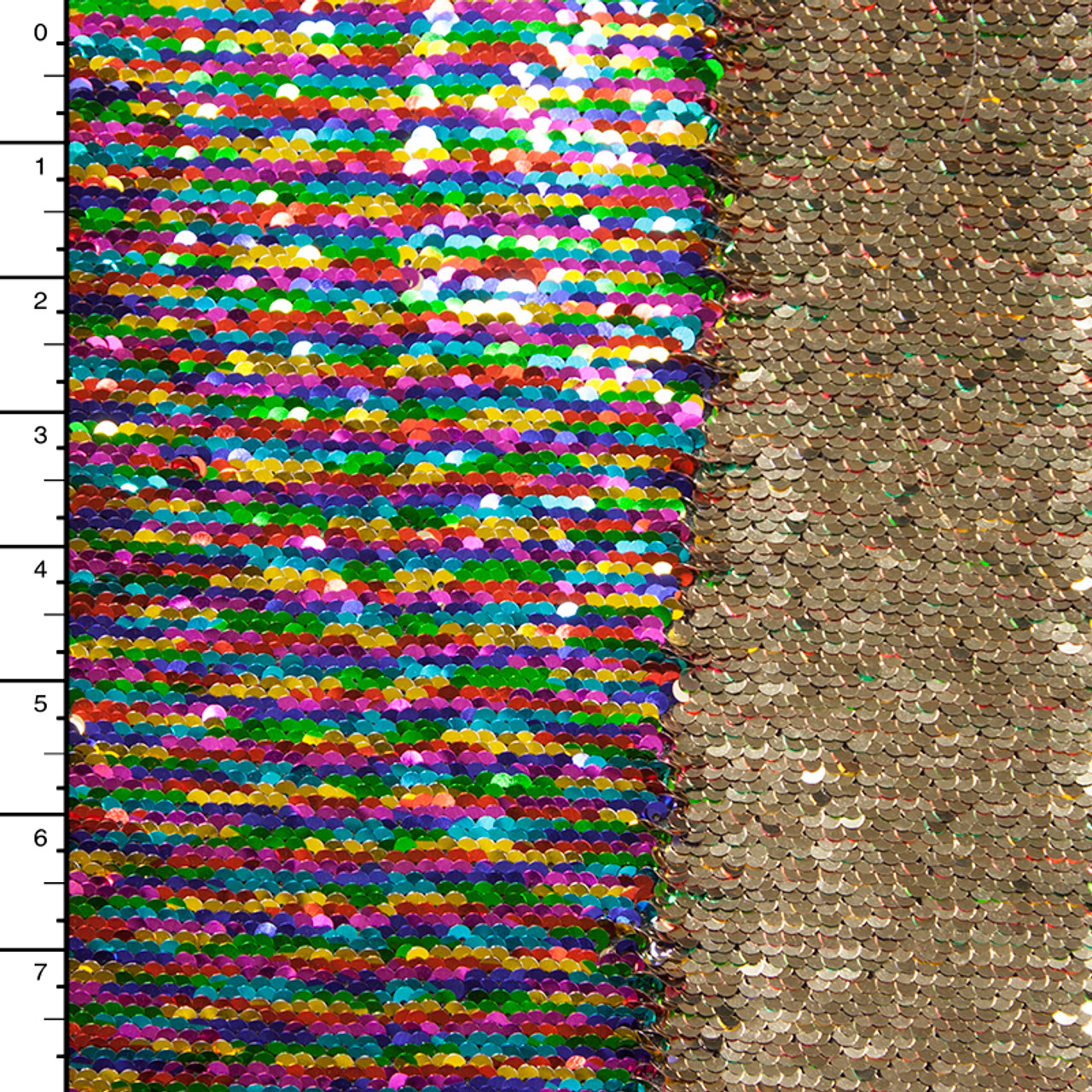 03e0b3ae Cali Fabrics Metallic Rainbow and Gold Reversible Two Tone Sequin ...