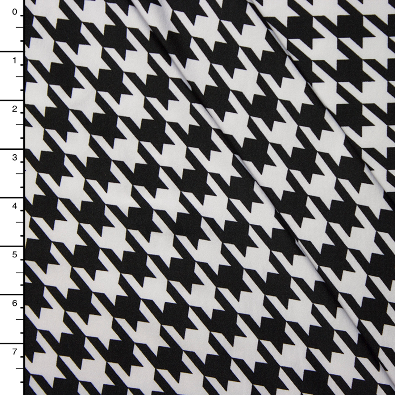 Cali Fabrics Black And White Houndstooth 4 Way Stretch Poly Lycra