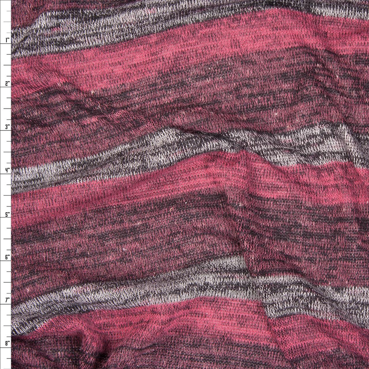 6e773c9fc48 Plum, Fuchsia, and Grey Heather Stripe Lightweight Sweater Knit ...