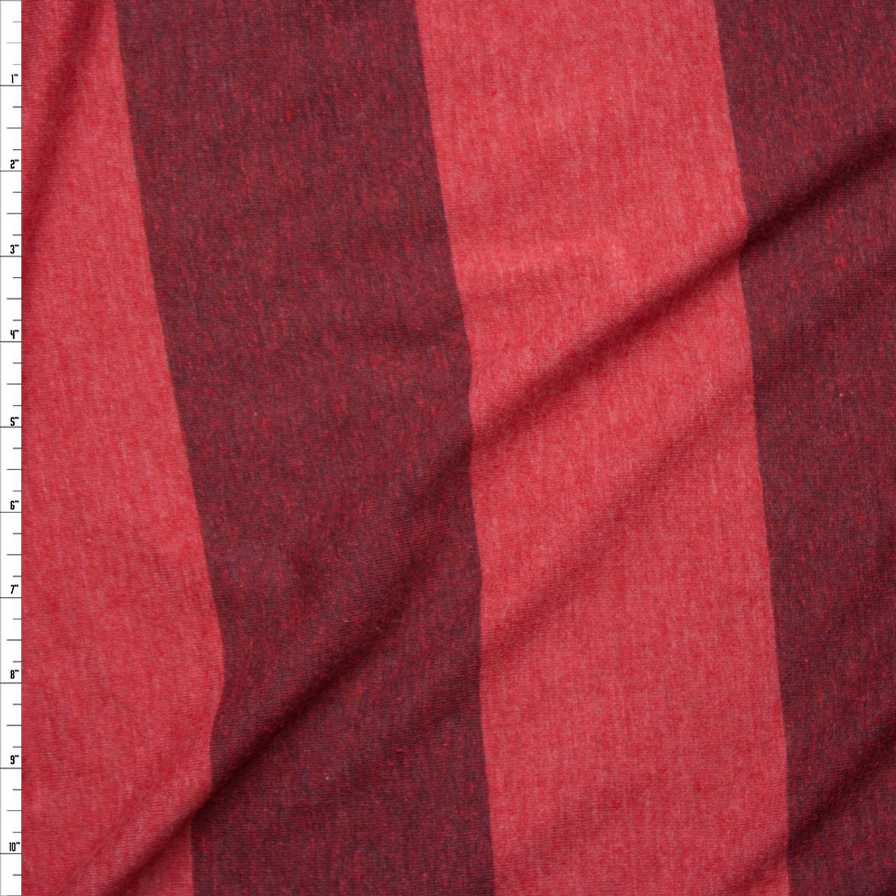 869c8c929be Cali Fabrics Brick Red Wide Stripe Lightweight Jersey Knit Fabric by ...