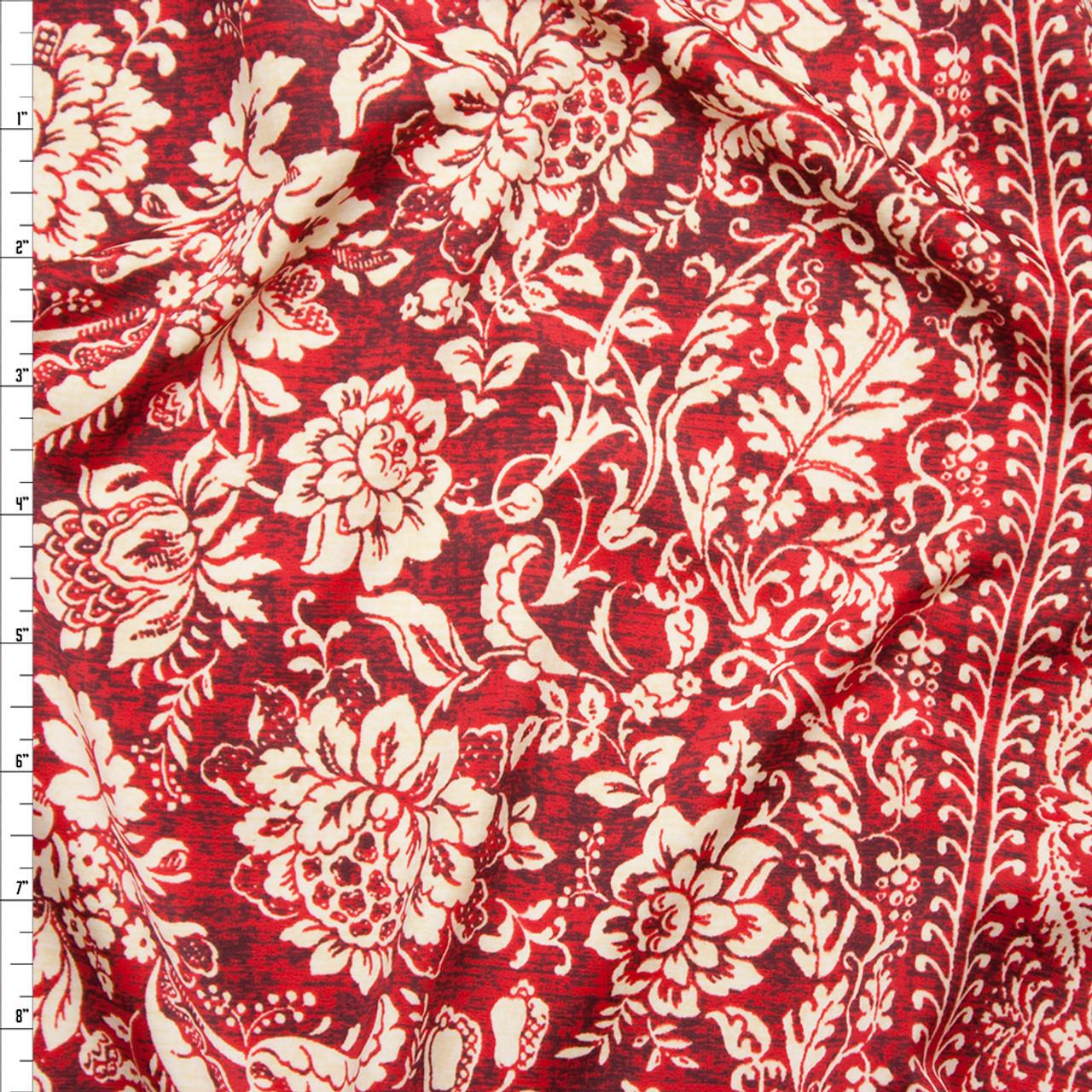 d74789b68a6 Cali Fabrics Tan and Wine Ornate Stripe Spandex Print Fabric by the Yard