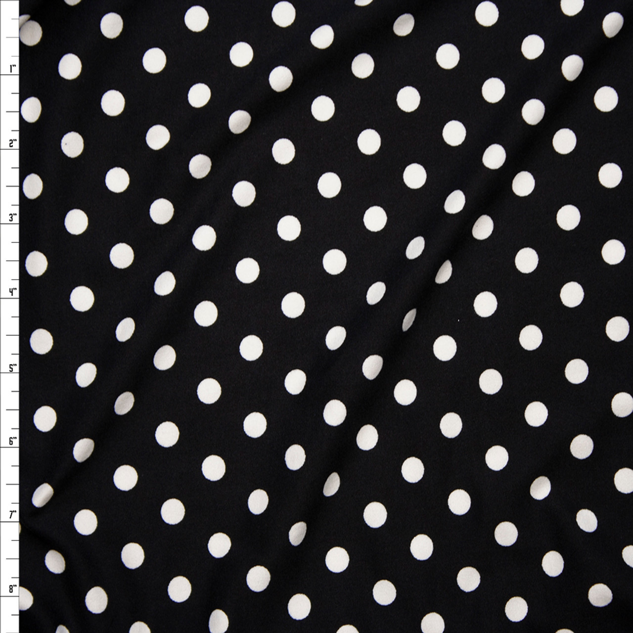 d64d44df0e4 White on Black 8mm Polka Dot Double Brushed Poly Spandex Print Fabric By  The Yard ...