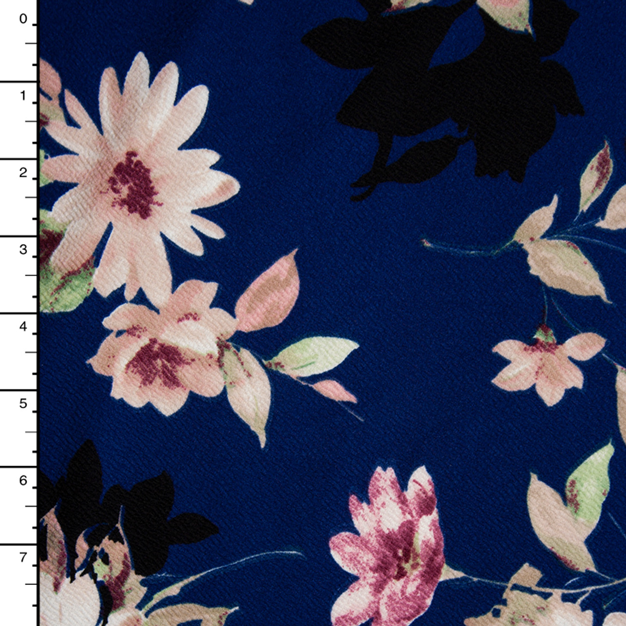 Cali Fabrics Floral Pattern On Navy Blue Liverpool Knit Fabric By