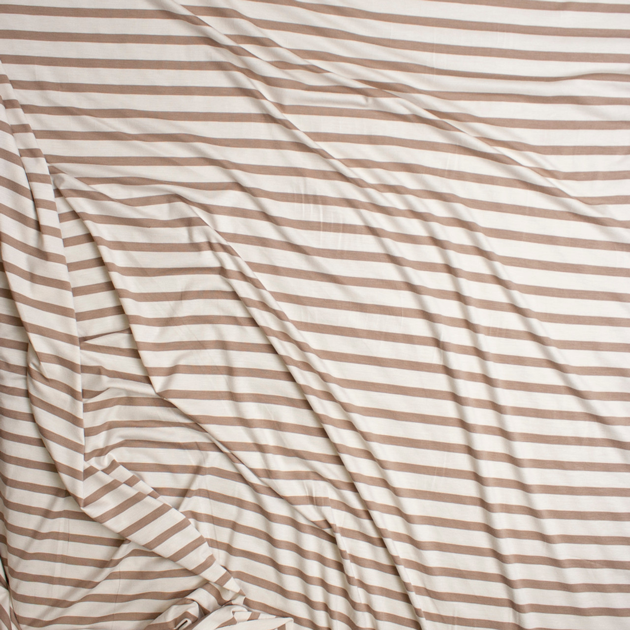 61e25dea7e9 ... Ivory and Tan Horizontal Pencil Stripe Stretch Modal Jersey Knit Fabric  By The Yard - Wide