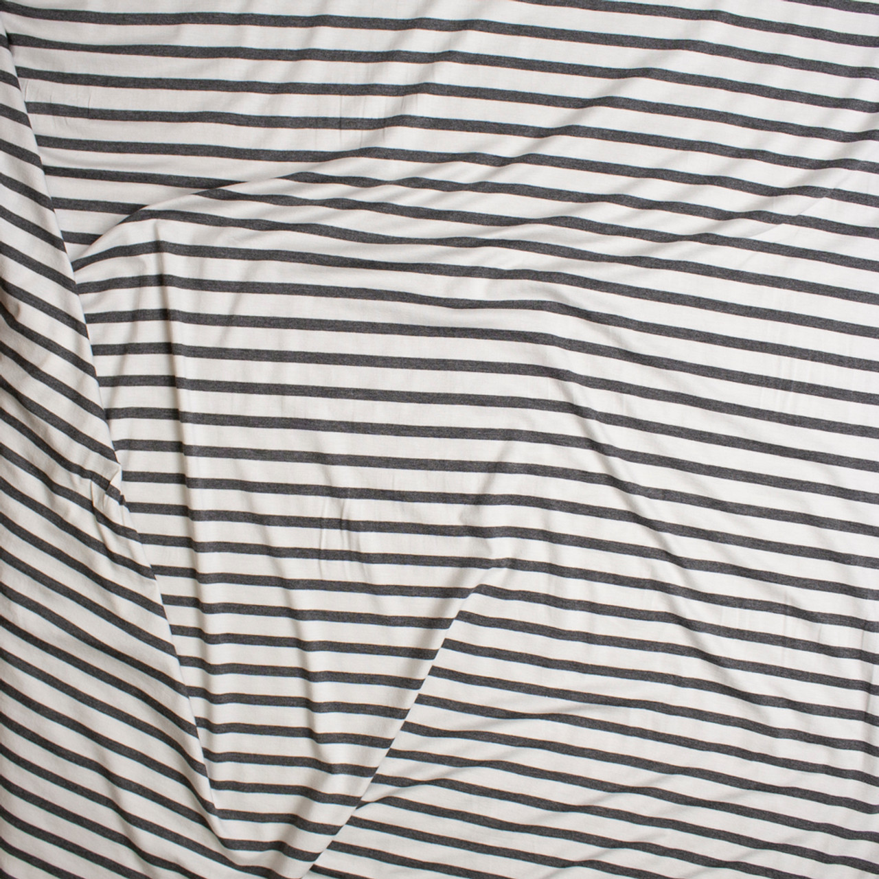 98cead55171 ... Charcoal and White Pencil Stripe Stretch Modal Jersey Knit Fabric By  The Yard - Wide shot