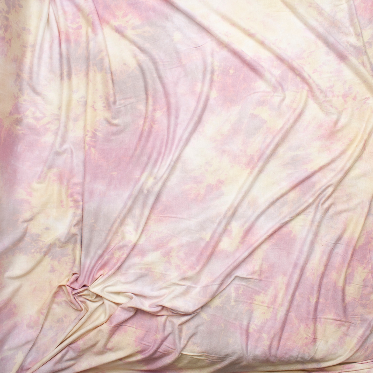 b7ce5872719 ... Pastel Pink, Yellow, and Lavender Tie Dye Stretch Rayon Jersey Fabric  By The Yard