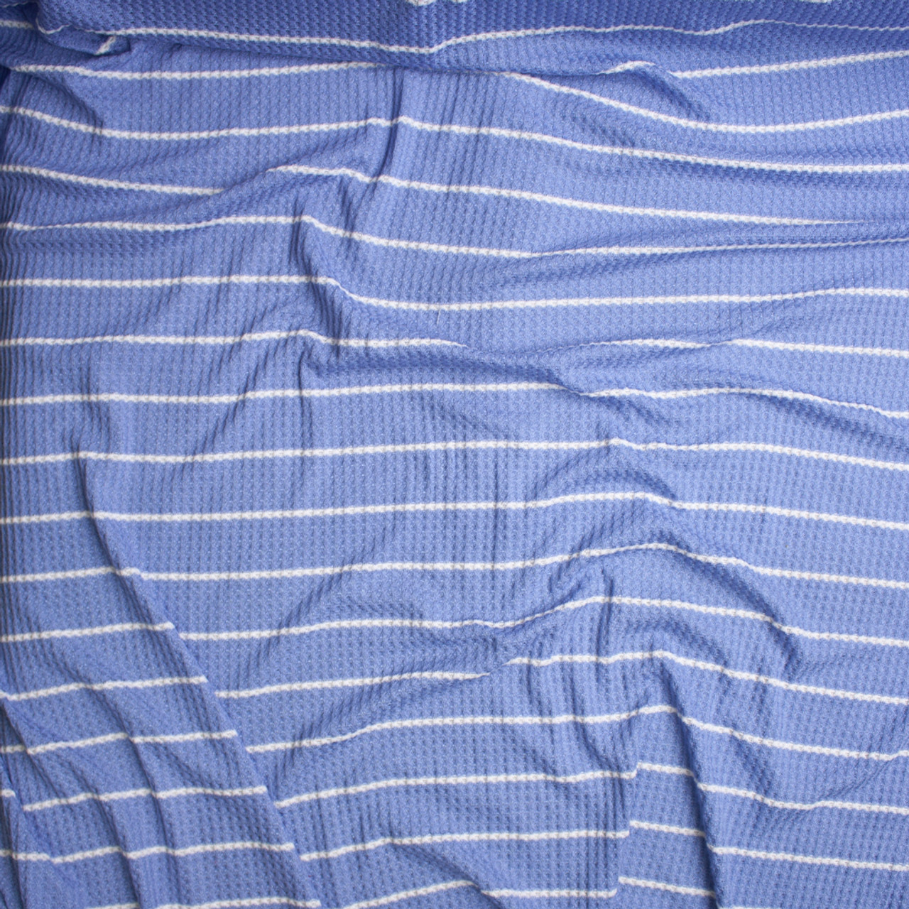 04bd3bf662 ... Light Blue with Horizontal White Striped Soft Waffle Knit Fabric By The  Yard - Wide shot