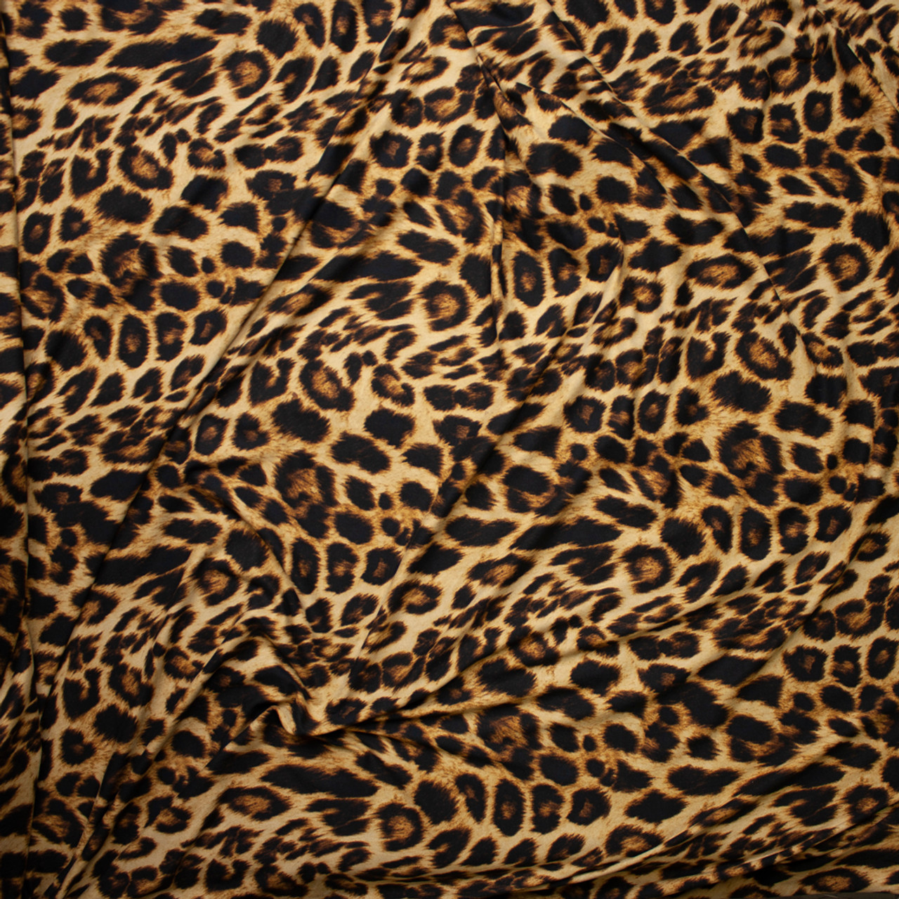 cce84aaa0e ... Leopard Print Double Brushed Poly Spandex Fabric By The Yard - Wide shot