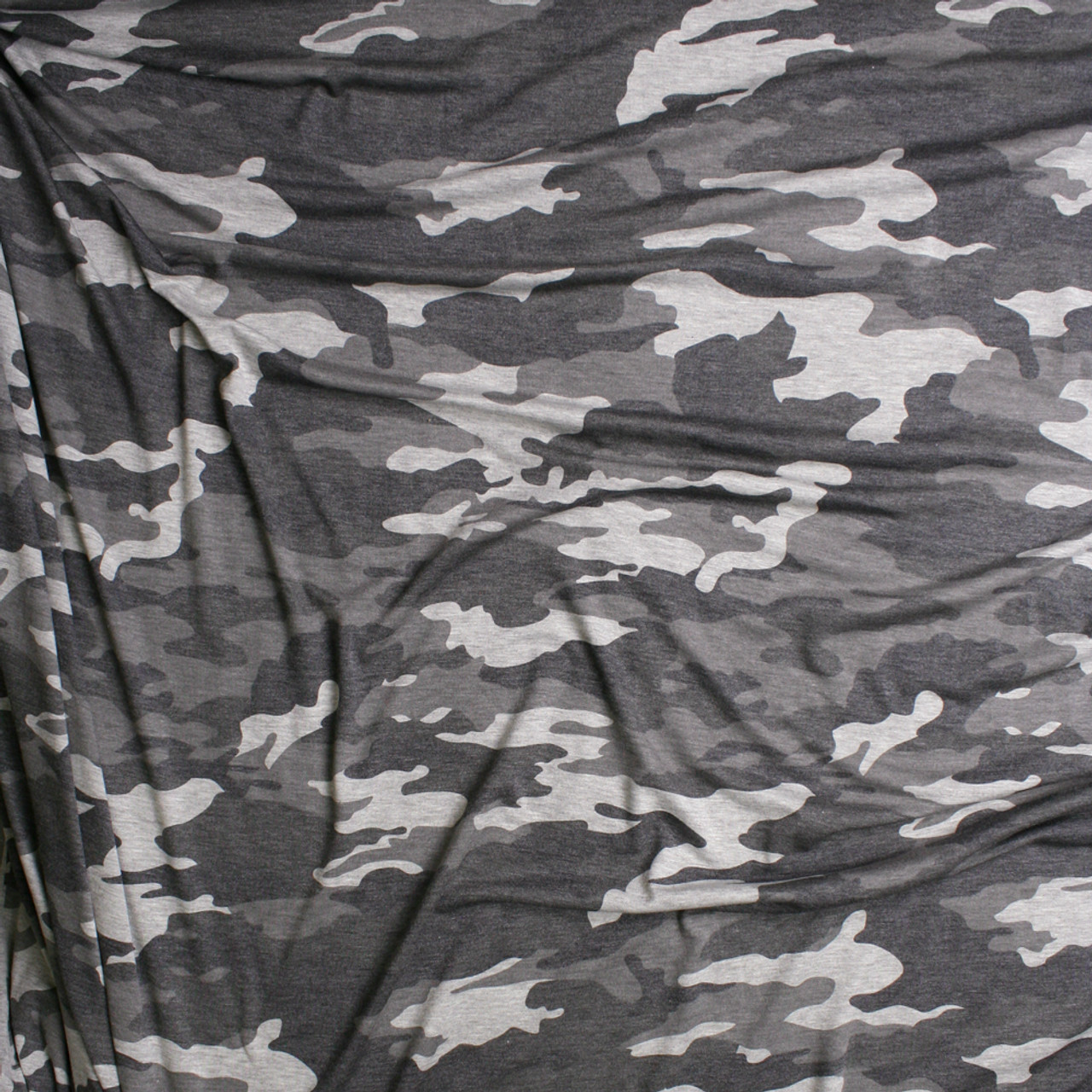 1af5aad2e49 ... Heather Grey Camouflage Midweight Stretch Rayon Jersey Knit Fabric By  The Yard - Wide shot