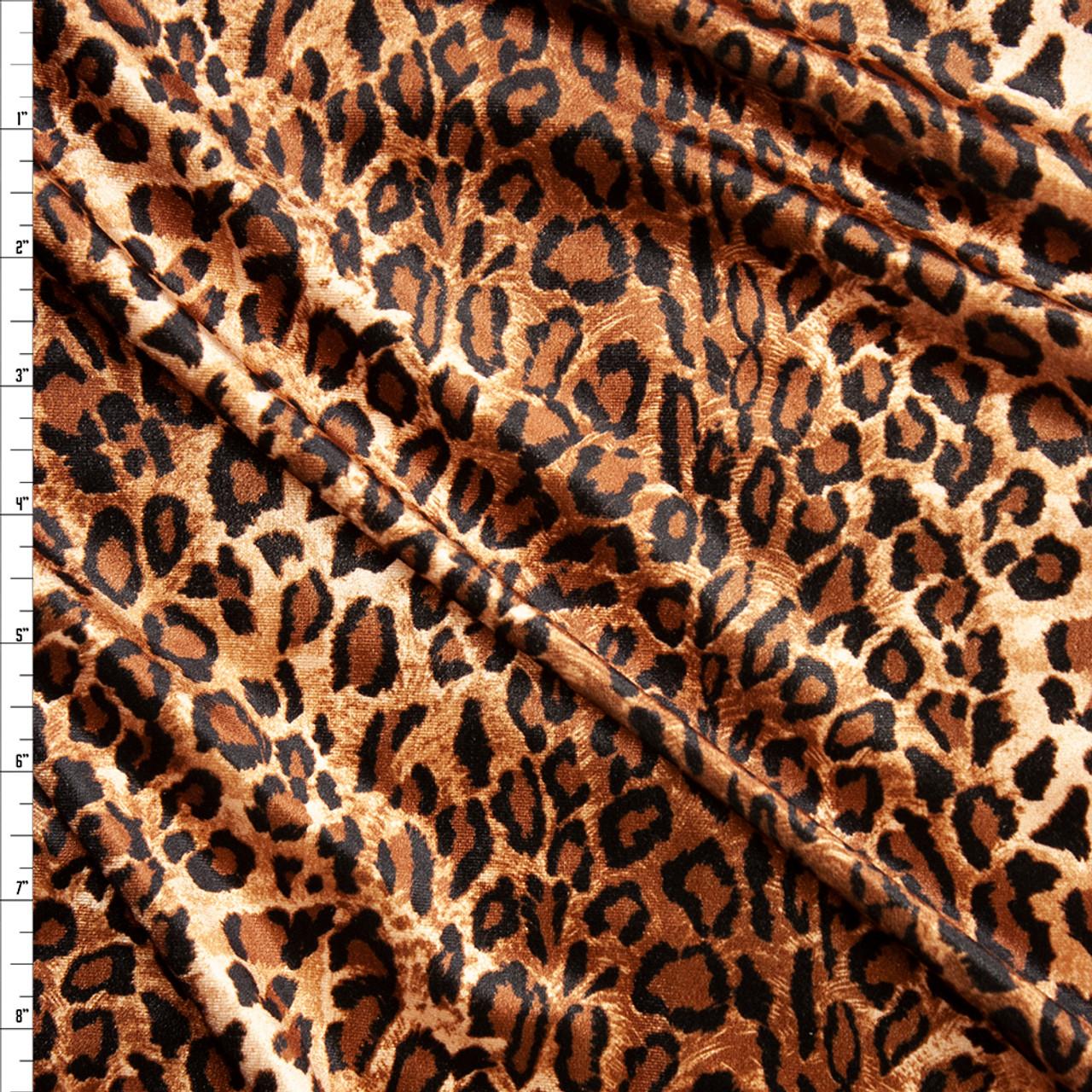 e039732eac Cali Fabrics Brown and Tan Cheetah Print 4-way Stretch Velvet Fabric ...