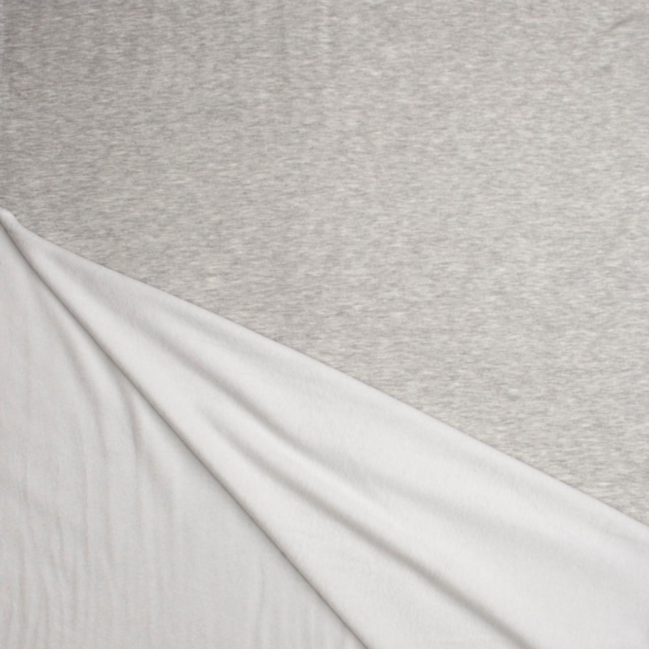 8369d8187b2 ... Light Grey Heather Light Midweight Stretch Sweatshirt Fleece Fabric By  The Yard - Wide shot