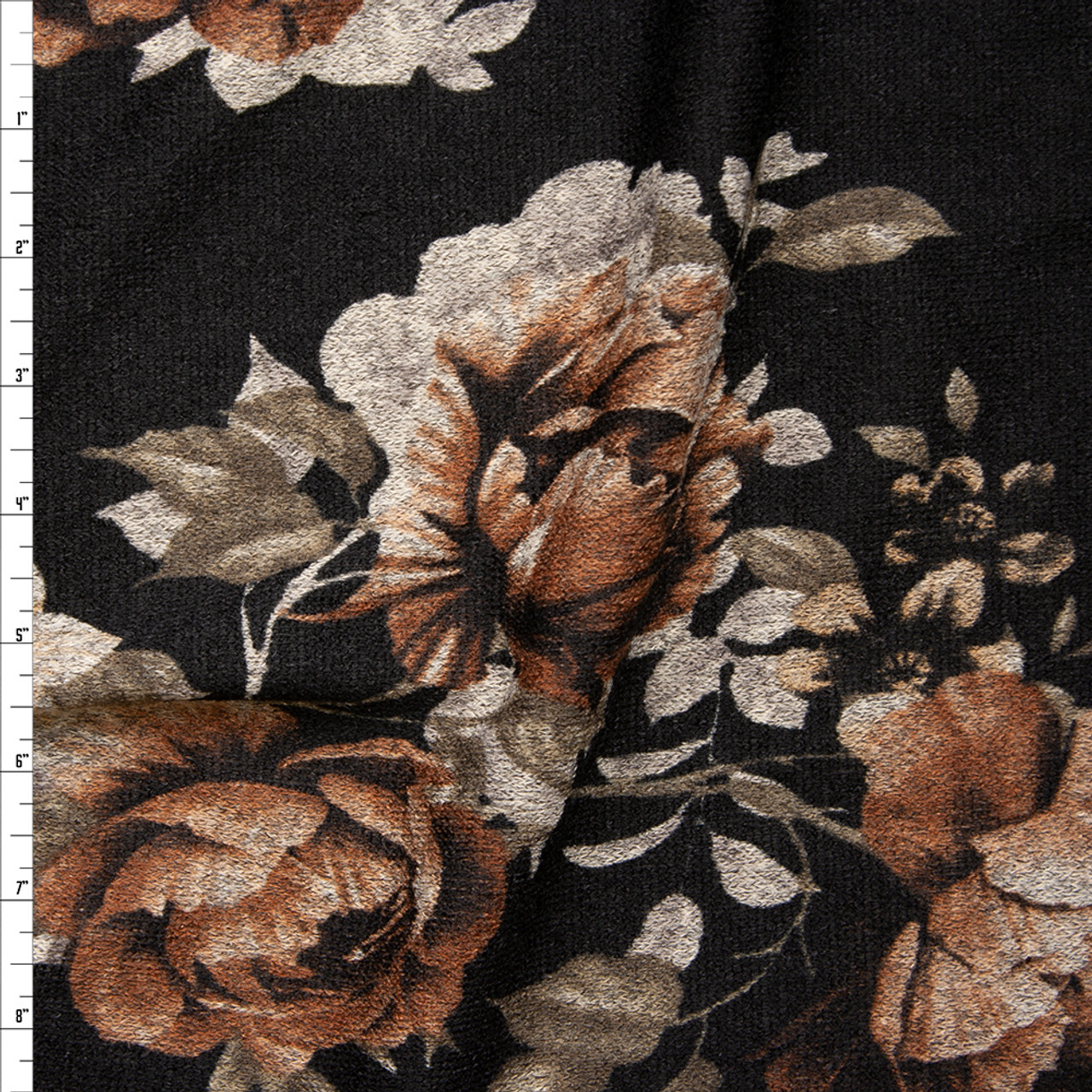 b0f88ca15dc Antique Rust, Tan, and Grey Floral on Black Soft Stretch Sweater Knit Fabric  By ...