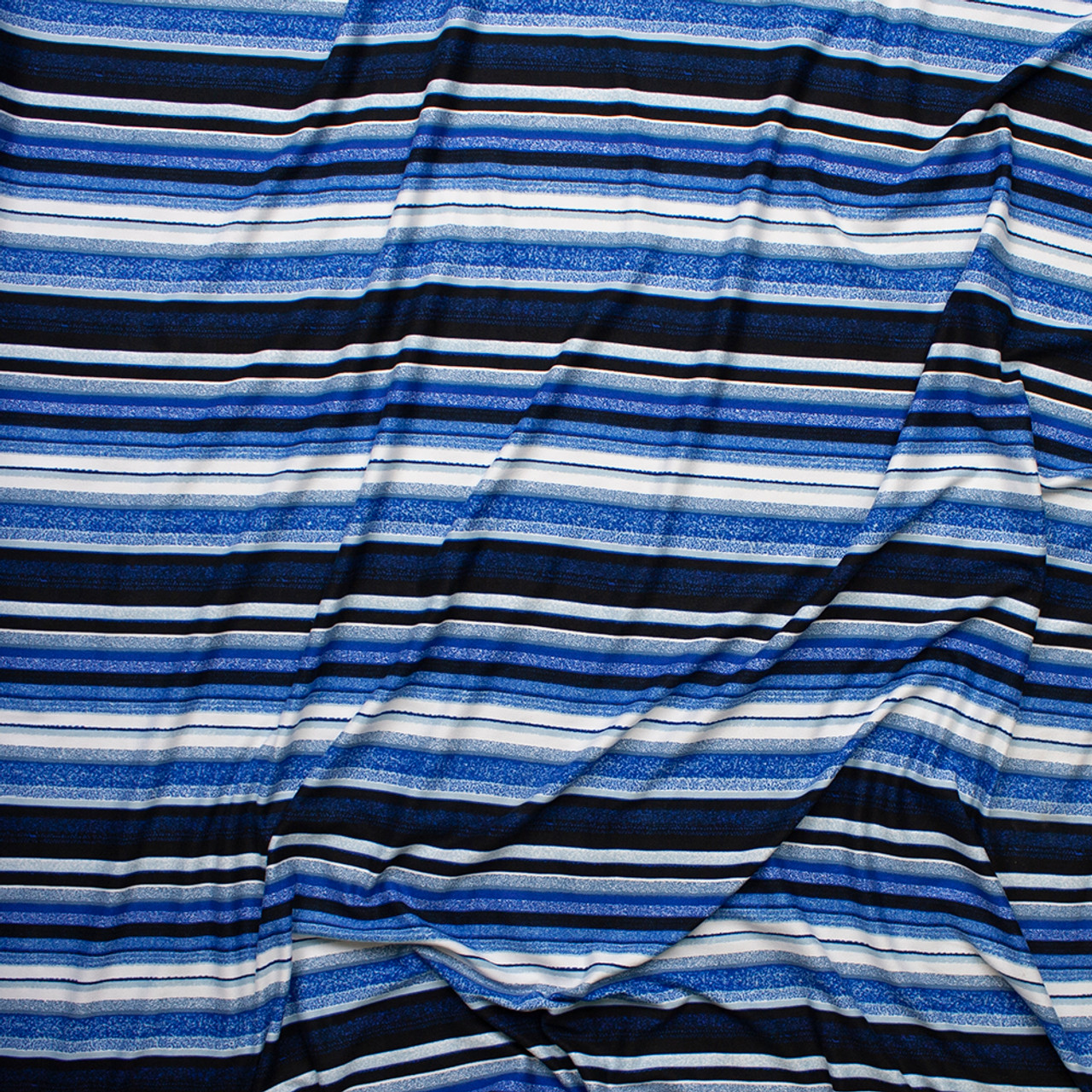 BLUE /& WHITE STRIPED POLY KNIT-64 INCH WIDE BY THE YARD