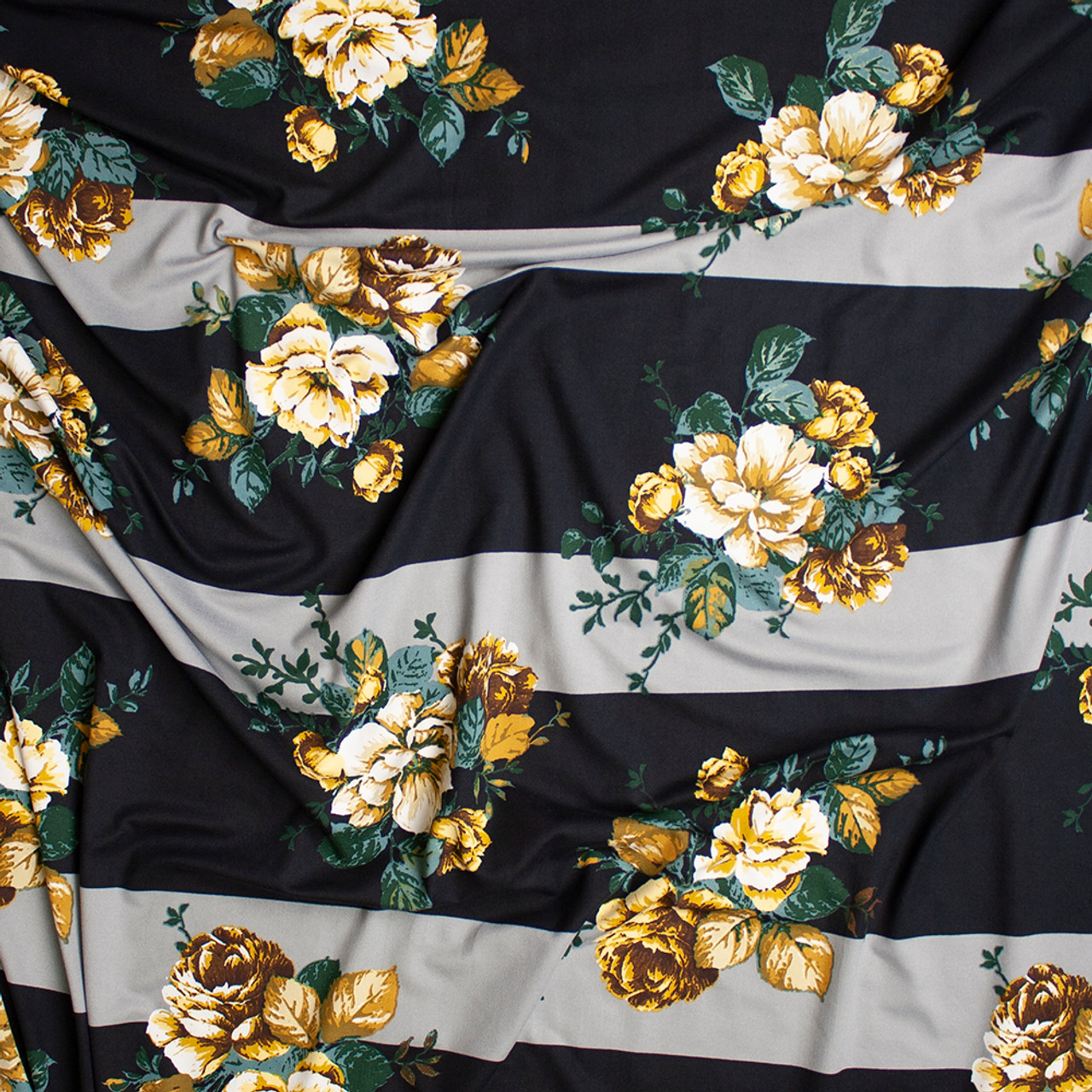 Grey Floral and Gold Stripes