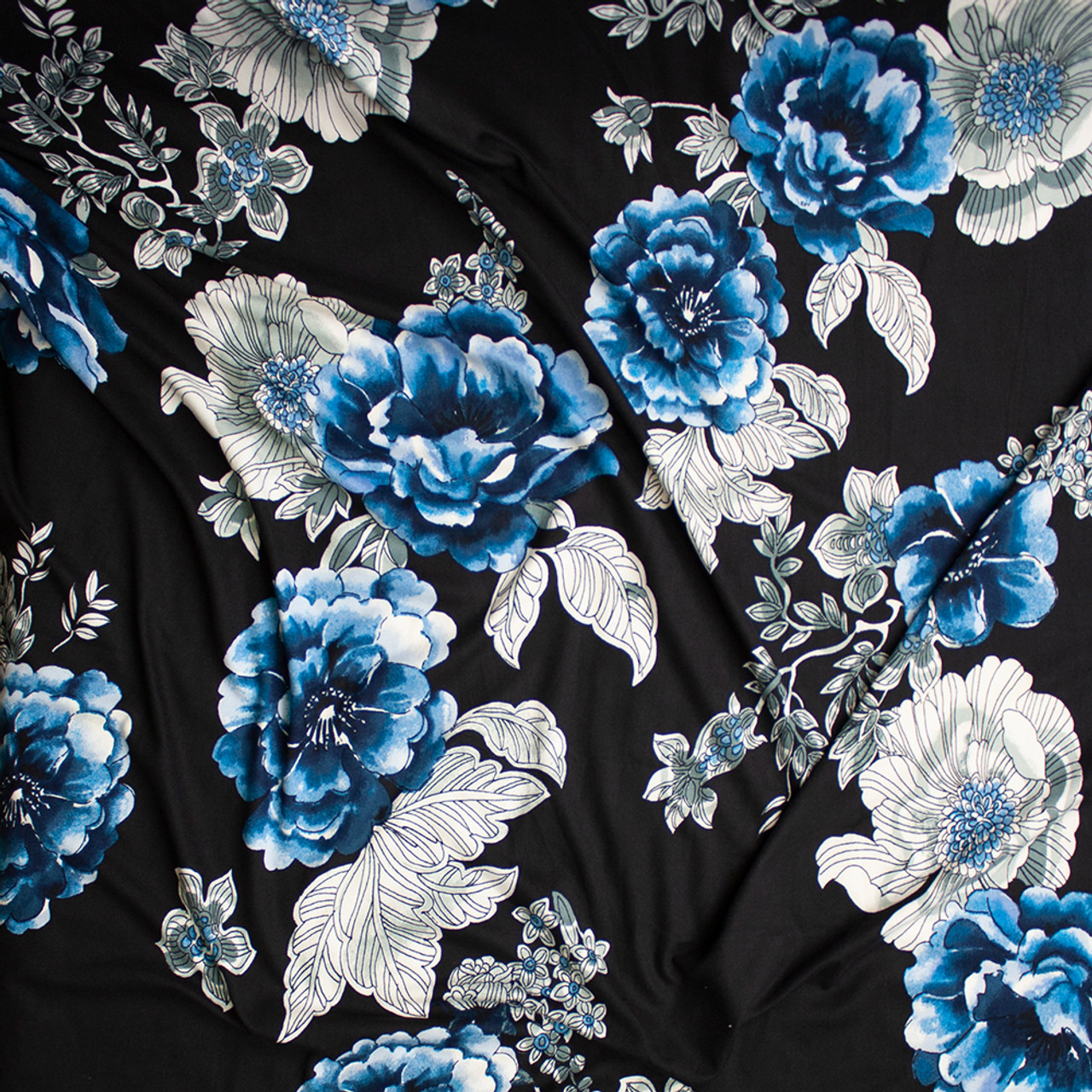 ecee5912512 ... Teal, White, and Grey Outline Floral on Black Double Brushed Poly  Spandex Knit Fabric