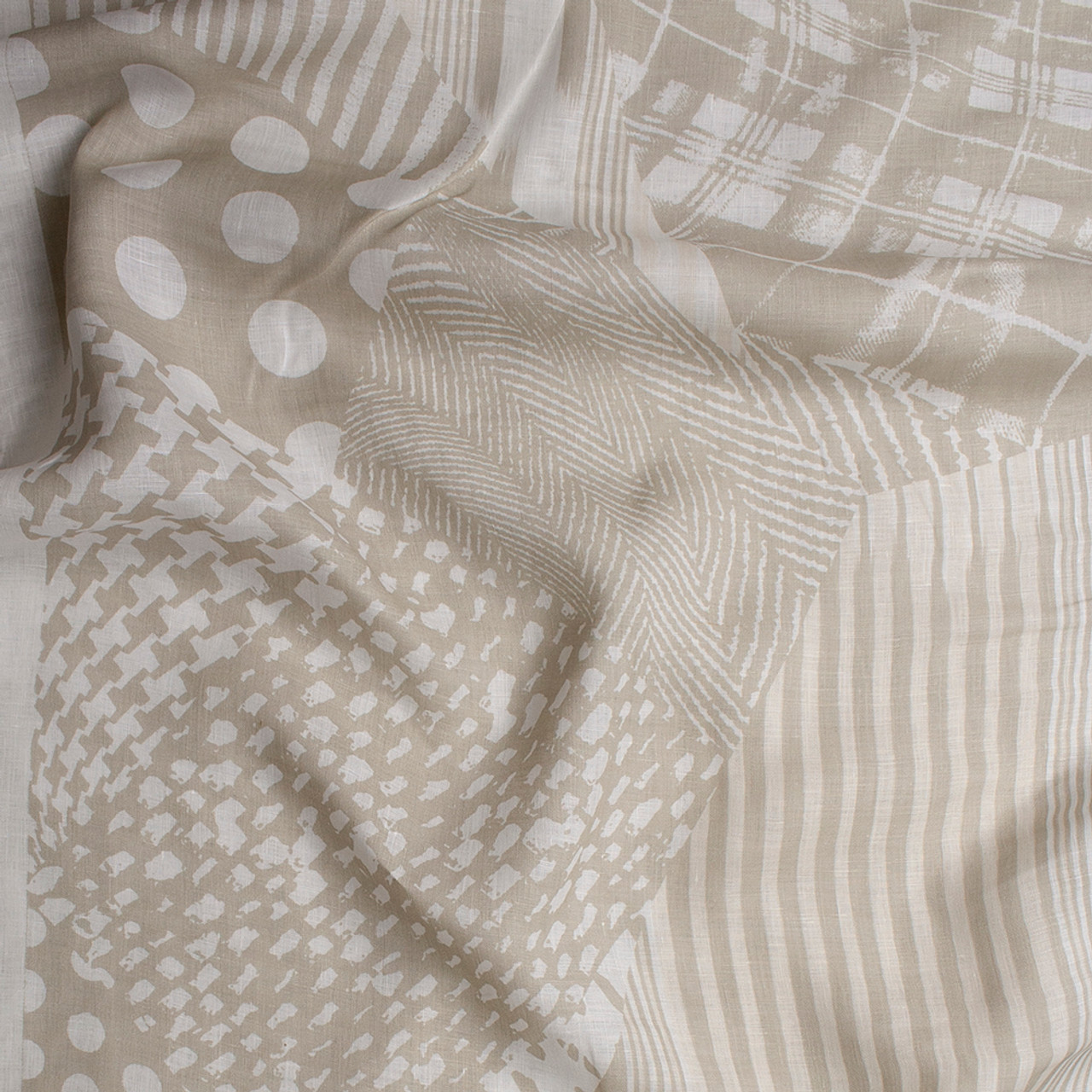 Tan and Ivory Mixed Pattern Patchwork Lightweight Linen