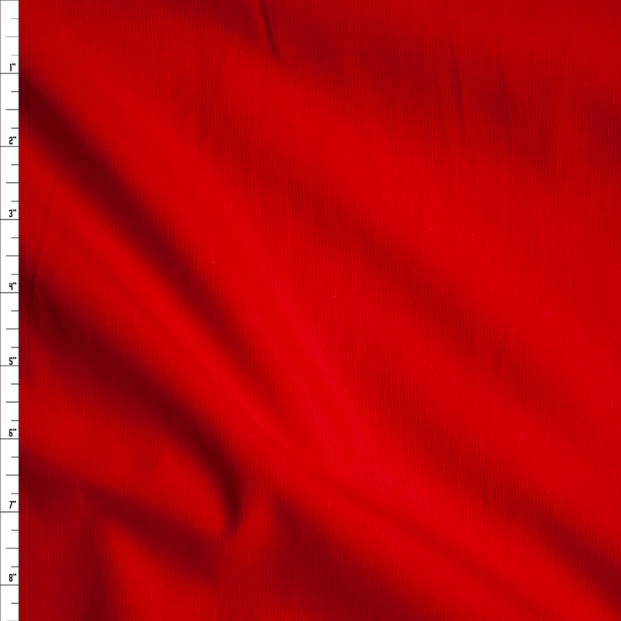 velvet by the 12 meter. Tomato red corduroy fabric in organic cotton Bright red baby cord