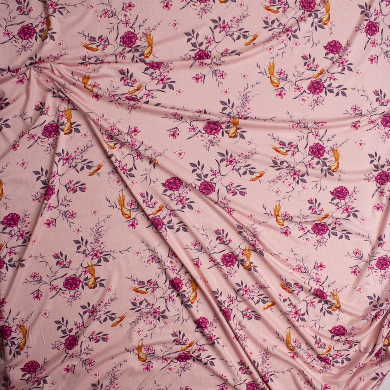 44fb451b8b9 ... Yellow and Purple Floral on Pink Lightweight Stretch Rayon Jersey Knit  Fabric By The Yard -