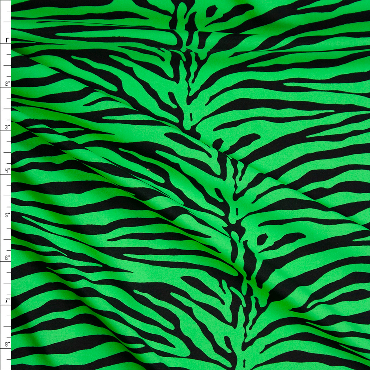 Cali Fabrics Neon Green And Black Tiger Print Nylon Spandex Fabric