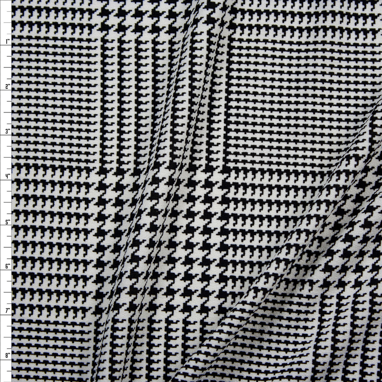 Cali Fabrics Black And White Houndstooth Plaid Midweight Crepe Knit Fabric By The Yard