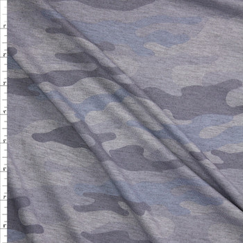 Soft Grey and Glacier Camo French Terry Fabric By The Yard