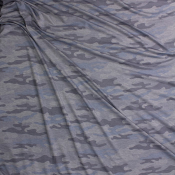 Soft Grey and Glacier Camo French Terry Fabric By The Yard - Wide shot