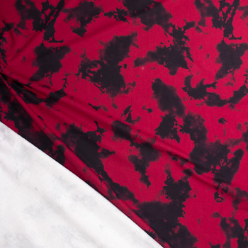 Deep Red and Black Tie Dye Midweight Sweatshirt Fleece Fabric By The Yard - Wide shot