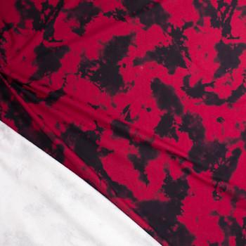 Deep Red and Black Tie Dye Midweight Sweatshirt Fleece Fabric By The Yard - Wide shot