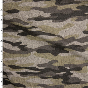 Taupe and Sand Camouflage Brushed Sweater Knit Fabric By The Yard