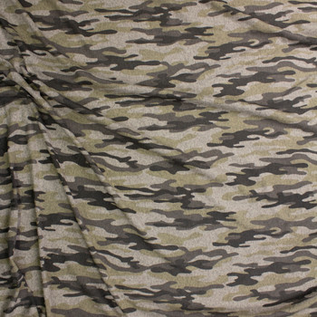 Taupe and Sand Camouflage Brushed Sweater Knit Fabric By The Yard - Wide shot