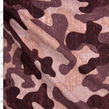 Mauve Camouflage Brushed Sweater Knit Fabric By The Yard
